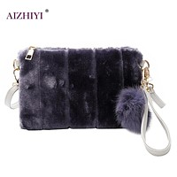 Vintage Fashion Envelope Women Bag  Clutch Plush Day Clutches  Messenger Bags Fur Plush Cony Hair Clutch