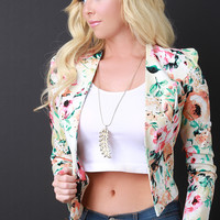 Collarless Cropped Floral Print Blazer