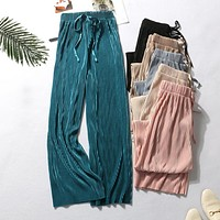 Wide Leg Pants For Women Casual Elastic High Waist Fashion Loose Long Pants Pleated Pant Trousers Femme