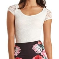 Short Sleeve Lace Bodysuit by Charlotte Russe