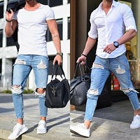 Bigsweety New Men's Denim Pant Stretch Destroyed Ripped Design Fashion Ankle Pants Zipper Skinny Jeans For Men Plus Size Jeans