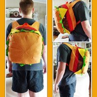 Cheeseburger Backpack- Custom Made-  MADE TO ORDER only-  Stuffed Cheeseburger Backpack