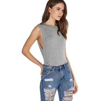 Muscle Cut Distressed Tank Bodysuit Heather Grey