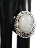 Formal Jewelry White Moon Stone Ring Marked 925 Sterling Silver Jewellery Indian Fashion Jewellery Bridesmaid Gifts Size 8.5 SJRSJR386