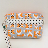 Fox Print Wristlet Orange Foxes Gadget Pouch Phone Pouch