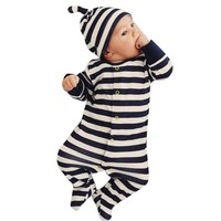Baby Rompers 2017 Autumn  Infant Romper Newborn Boys Girls Polo Jumpsuit With Hat Hoodie Striped romper Baby Girl Boy Clothing