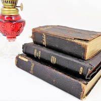 Set of 3 Old Books, German Psalmbok, Christian New Testament, Lutheran Hymnal, Antique and Vintage Books
