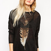 Feather Print Long Sleeve Tunic Top