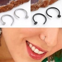 Fashion Piercing Jewelry 10Pcs/Lot Stainless Nose Hoop Nose Rings Clip Body Fake Piercing Black Silver Multi For Women