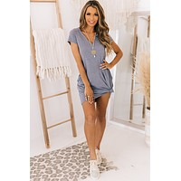 All I've Ever Wanted V-Notch T-Shirt Dress (Two Tone Blue Grey)