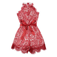 Red Lace Halter Sleeveless Waist Belted Romper