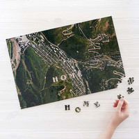 Custom Satellite Map Puzzle | custom jigsaw puzzle, wooden, map