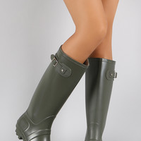 Rubber Buckle Round Toe Knee High Rain Boots