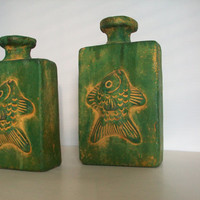 Mexican pottery vases . green vases . green clay bottles . rustic earthenware vases . green bottles . handmade clay vases rustic green decor