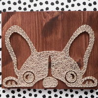 French bulldog wall decoration for dog lovers or anyone else who fancies fun and modern silhouette wall decors, reclaimed wood string art