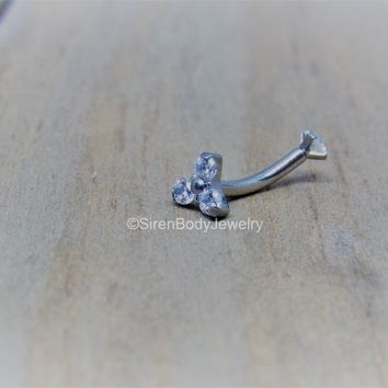 Rook piercing cluster curved barbell 16g vertical labret bar internally threaded titanium