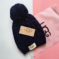 """UGG"" Winter Women Cute Tab Hairball Warm Hat"
