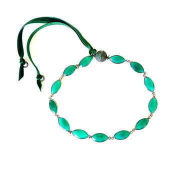 Vintage Natural Green Agate Choker Necklace