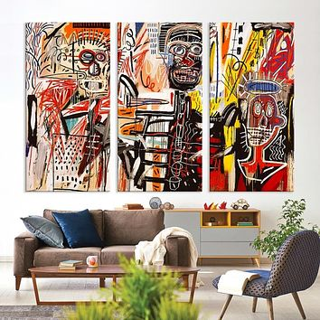 Large Basquiat Wall Art Abstract Canvas Print