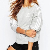 VXL8HQ Adidas' Fashion Male And Female Casual Show Thin Long Sleeve Women  Cotton Sweater