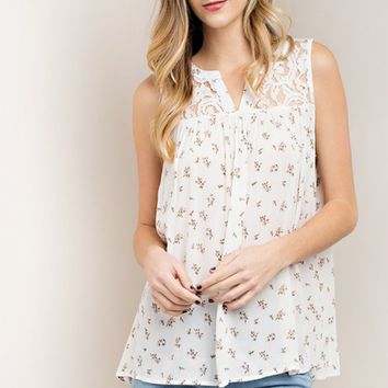 Floral Button Up Lace Tank