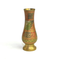 Etched Brass Vase, Made in India - Solid Handcrafted Brass, Indian Folk Art, Colored Enamel Painted - Vintage Home Decor