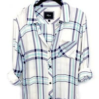 Rails Hunter Buttondown in white/navy/mint