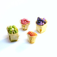 Dollhouse Miniature Food Fruit Baskets Grapes and Berries