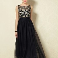 Women's Embroidery V-back Black Bow Long Prom Party Dress
