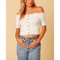 Cotton Candy LA - Button Up Knit Off The Shoulder Crop Top in White