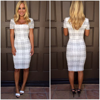 Frosted Plaid Midi Dress - WHITE