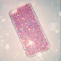 Pink Ombre Glitter Phone Case 5/5s/6/6s/6s plus for iPhone & Samsung s5/s6/s6 edge+ Clear Handmade Sparkle Fading Transparent