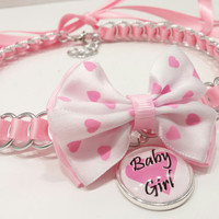 Ribbon Maille BDSM Day Collar, Valentine's Collar, Daddy's Girl, DDLG, Pink Ribbon Collar with Bow