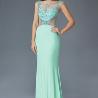 G2082 Sheer Illusion Mock Two Piece Jersey Prom Dress
