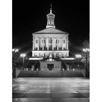 State Capitol Vertical B&W Tennessee Nashville City Photography Metal Print Wall Art Picture Home Decor Poster Landmark Bedroom Livingroom
