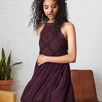 AEO Hi-Neck Tiered Dress, Wine