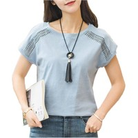 Plus Size Cotton Blouses 2018 Summer  Lace Blusas Female  Batwing Sleeve Shirts For Womens Tops Shirts Women Clothing 5XL 970C30