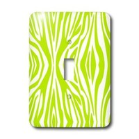 Janna Salak Designs Prints and Patterns - Lime Green and White Zebra Print - Light Switch Covers - single toggle switch (lsp_201741_1)