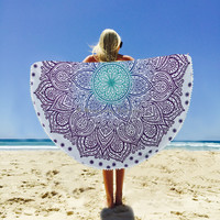 Indian Round BeachTowel Hippie Ombre Tapestries Bohemian Mandala Tapestry Wall Hanging Yoga Mat