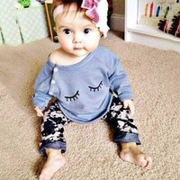 2Pcs Newborn Infant Baby Girls Outfits
