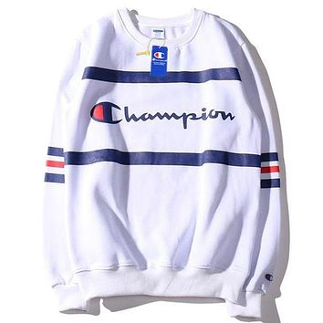 Champion 2018 autumn embroidered letters couple casual plus velvet sweater White