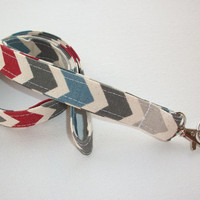 Lanyard ID Badge Holder - blue, red, charcoal, grey and natural Chevron zigzag Zig zag - Lobster clasp and key ring