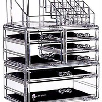 "6 Tier Clear Acrylic Cosmetic Makeup Storage Cube Organizer with 7 Drawers. It Consists of 3 Separate Organizers, Each of Which can be Used Individually -9.5""x6.5""x11.8"""