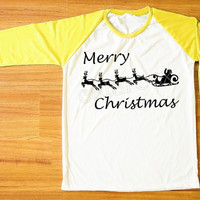 Merry Christmas T-Shirt Santa Shirt Reindeer Shirt Christmas Gift Shirt Yellow Sleeve Women Shirt Men Shirt Unisex Shirt Baseball Tee S,M,L