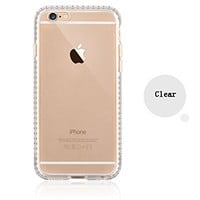 Colorful POPO Clear Hard PC Back Panel Hybird Soft TPU Bumper Case with Bling Rhinestone Diamond Frame for iPhone 6 Plus& 6s Plus 5.5 Inch (Clear)