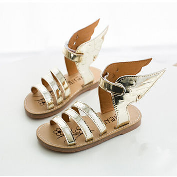 2016 summer fashion Kids Children shoes silver golden shoes wings Girls and Boys shoes Roman sandals Baby's shoes sandals