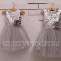 Sequins Crew Wide Straps Flower Short Ball Gown Flower Girl Dress, Tulle Formal Evening Party Prom Dress New Homecoming Dress
