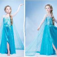 Girls Princess Elsa Kids Children Party Cosplay Costume Full Gown Dresses = 1946227716