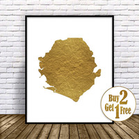 Sierra Leone Print, Travel Map, Sierra Leone Map Print, Travel Decor, Travel Prints, Living Room Wall Art, Office Pictures, GoldArtPrint