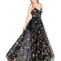 Mac Duggal Prom - Black Floral Embroidered Romantic Ball Gown Prom Dress